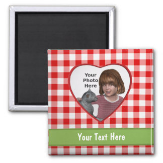 Red Gingham Look Heart Frame: Add a Photo and Text 2 Inch Square Magnet