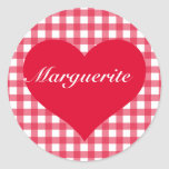 Red Gingham Love Classic Round Sticker