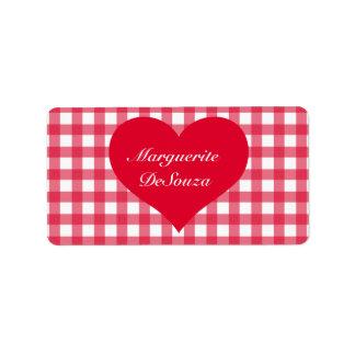 Red Gingham Love Custom Address Label