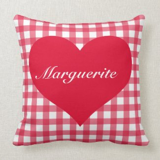 Red Gingham Love Pillow