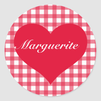 Red Gingham Love Stickers