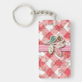 Red Gingham Lovebirds Acrylic Key Chain