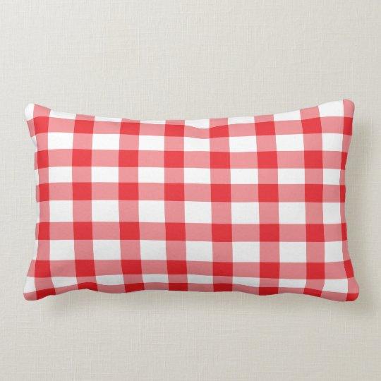 Red Gingham Lumbar Pillow