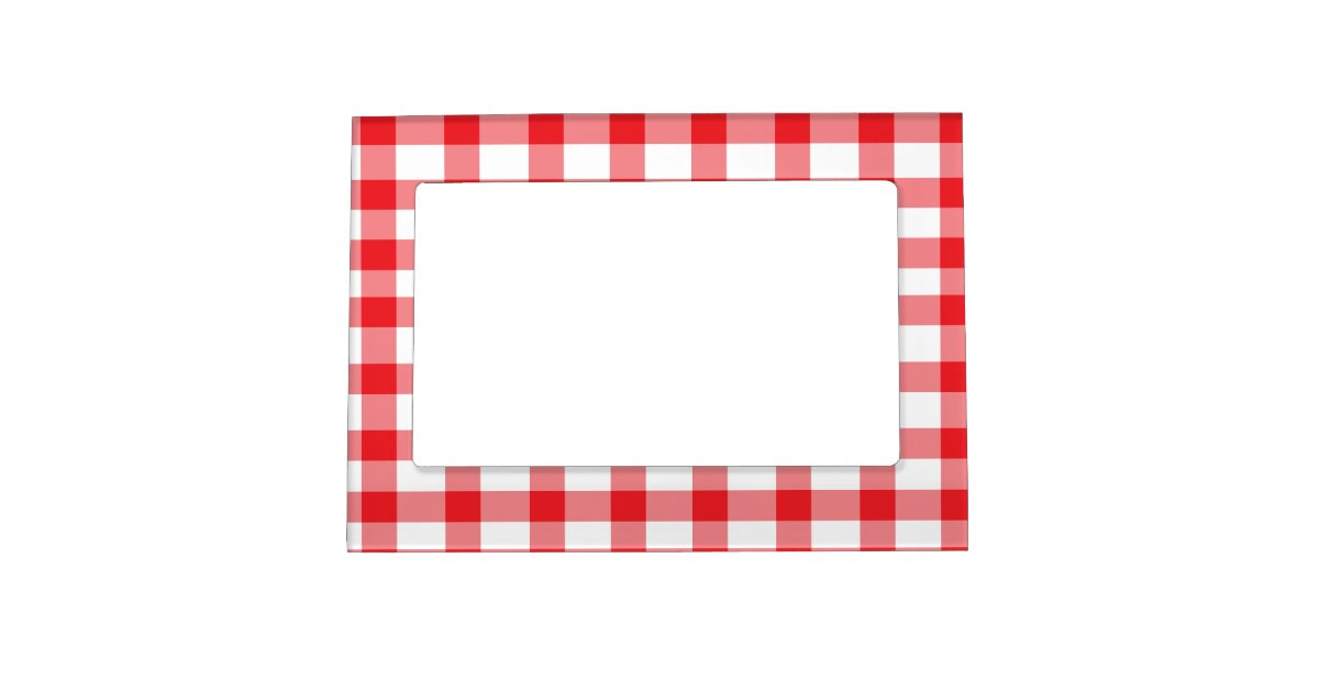 Red Gingham Magnetic Photo Frame Zazzle