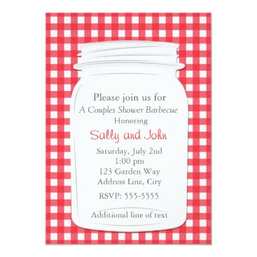 Beach Themed Red Gingham Mason Jar Country Picnic Summer Invite
