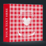 """Red gingham mason jar kitchen recipe binder book<br><div class=""""desc"""">Personalized red and white gingham pattern vintage mason jar kitchen recipe binder book Custom cookbook with glass jar, heart and personalizable name. Cute personalized baking / cooking gift idea for women; ie mom, mum, mother, aunt, wife, sister, grandma, daughter etc. Rustic country chic checkered table cloth design with faded love...</div>"""