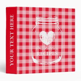 Red gingham mason jar kitchen recipe binder book