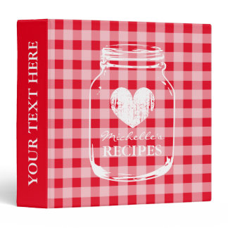 Red gingham mason jar kitchen recipe binder book