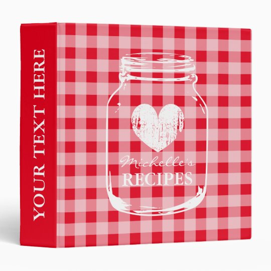 Cookbook Red Checkered Cover : Red gingham mason jar kitchen recipe binder book zazzle