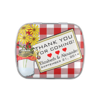 Red Gingham Mason Jar Wedding Mints Jelly Belly Tin