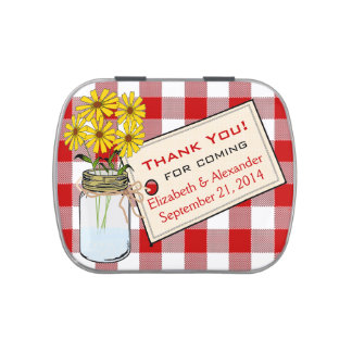 Red Gingham Mason Jar with Yellow Flowers Candy Tins