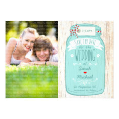 Red Gingham & Mint Mason Jar Photo Save the Date Cards