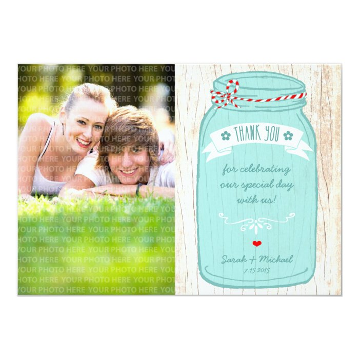 Red Gingham & Mint Mason Jar Photo Thank You Card
