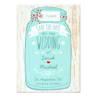 Red Gingham & Mint Mason Jar Save the Date 4.5x6.25 Paper Invitation Card