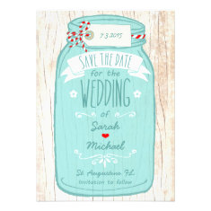 Red Gingham & Mint Mason Jar Save the Date Custom Invites