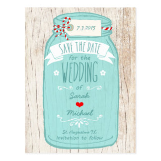 Red Gingham & Mint Mason Jar Save the Date Post Cards
