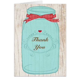 Red Gingham & Mint Mason Jar Thank You Card