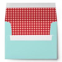 Red Gingham & Mint Mason Jar Wedding Envelope