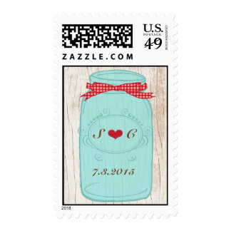 Red Gingham & Mint Mason Jar Wedding Stamp