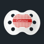 "Red Gingham Pacifier<br><div class=""desc"">Personlalize this gift with the name of your little one.</div>"