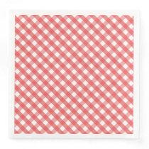 Red Gingham Paper Dinner Napkin