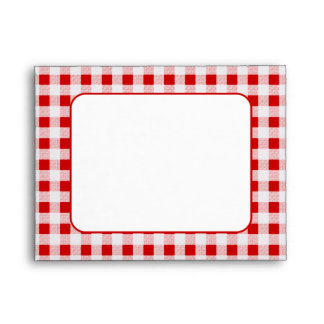 Red Gingham Pattern A2 Envelopes