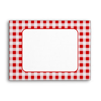 Red Gingham Pattern A7 Envelopes