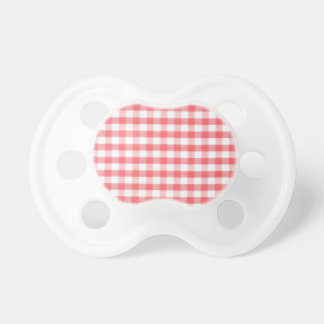 Red Gingham Pattern Baby Pacifier
