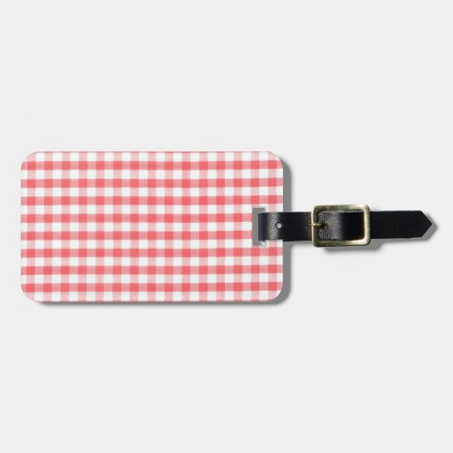 Red Gingham Pattern Bag Tags