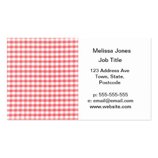 Red Gingham Pattern Business Card
