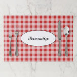 """Red gingham pattern checkered tearaway placemats<br><div class=""""desc"""">Red gingham pattern checkered tearaway placemats. Cute vintage design with customizable background color. Great for custom summer garden wedding party,  themed dinner party,  Birthday,  bridal shower,  picnic etc. Disposable table decorations and paper party supplies. Add your own bride and groom name,  family name,  logo etc. Cool pattern design.</div>"""