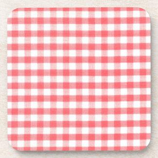 Red Gingham Pattern Beverage Coasters