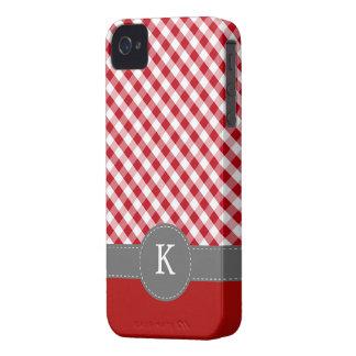Red Gingham Pattern Custom Monogram Case-Mate iPhone 4 Cases