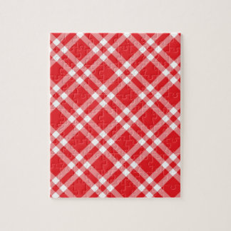 Red Gingham Pattern Jigsaw Puzzle