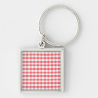 Red Gingham Pattern Keychain