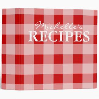 Red gingham pattern kitchen recipe binder book