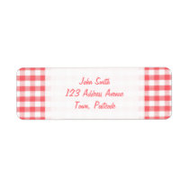 Red Gingham Pattern Label