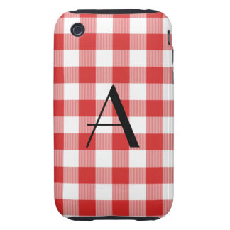 Red gingham pattern monogram iPhone 3 tough cover