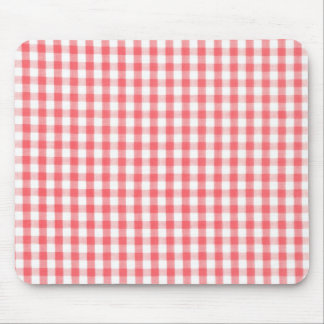 Red Gingham Pattern Mouse Pad