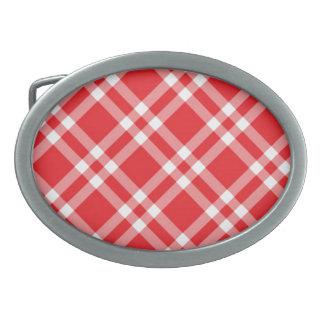 Red Gingham Pattern Oval Belt Buckle