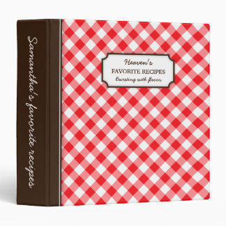 Red gingham pattern personalized recipe book binder
