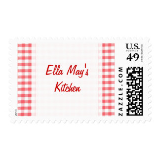Red Gingham Pattern Postage
