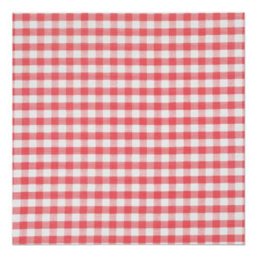 Red Gingham Pattern Poster
