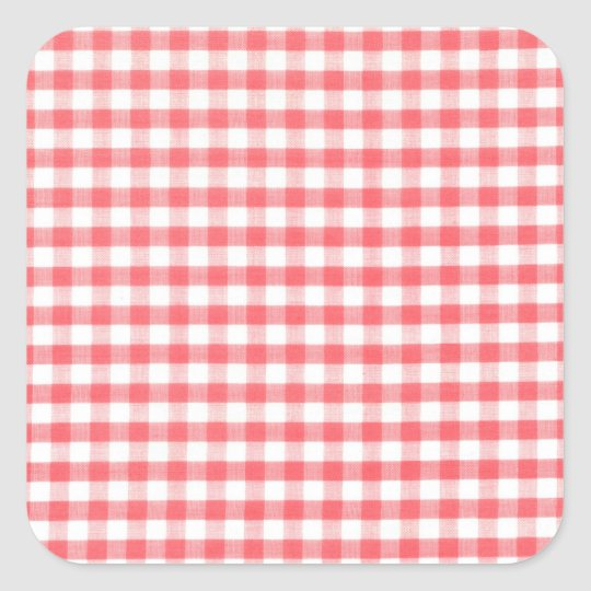 Red Gingham Pattern Square Sticker