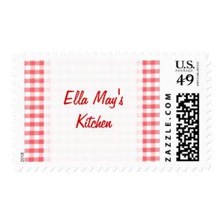 Red Gingham Pattern Stamp