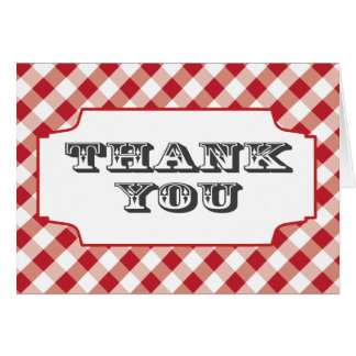 Red Gingham Pattern Thank you note cards