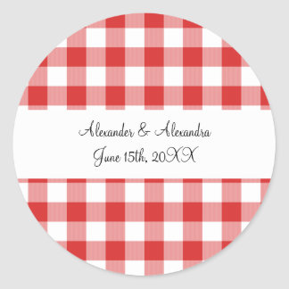 Red gingham pattern wedding favors classic round sticker