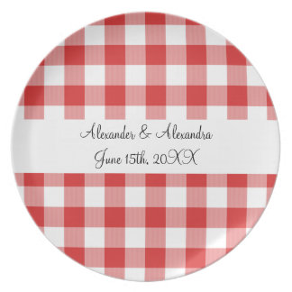 Red gingham pattern wedding favors dinner plate