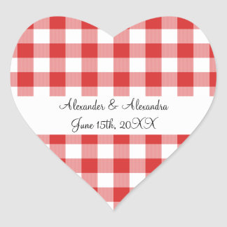 Red gingham pattern wedding favors heart sticker