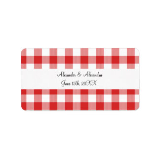 Red gingham pattern wedding favors label